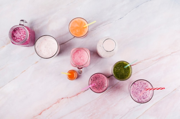 Assorted refreshing drinks on table
