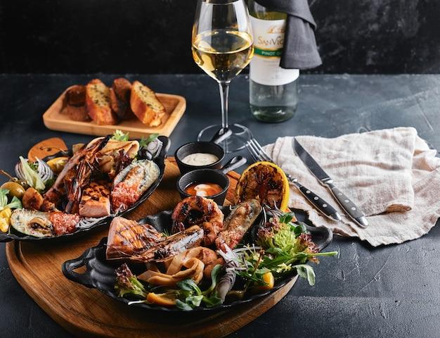 Assorted seafood on plates