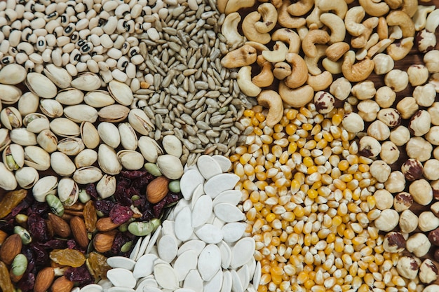 Assorted seeds background