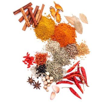 Assorted of spices isolated on white background.