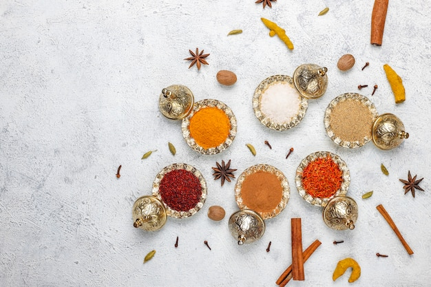 Assorted spices on kitchen table