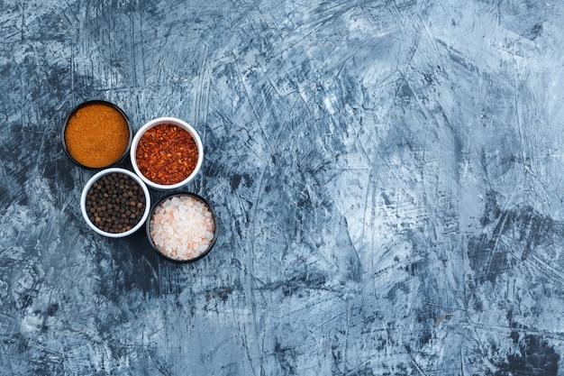 Spezie assortite in piccole ciotole piatte giacevano su uno sfondo di gesso grigio