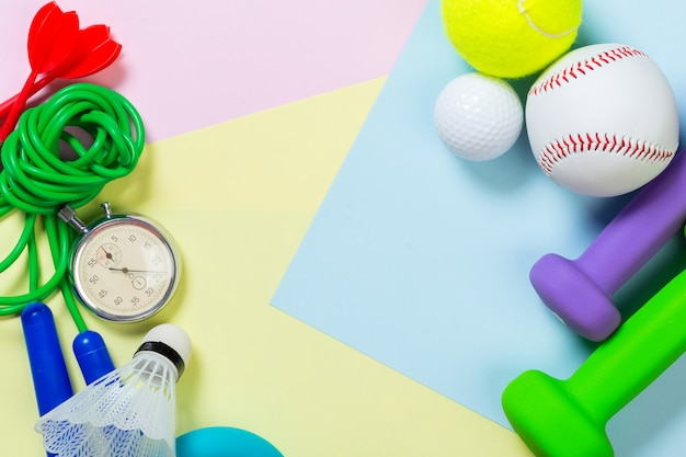 Assorted sports equipment background