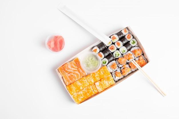 Assorted sushi set on white background