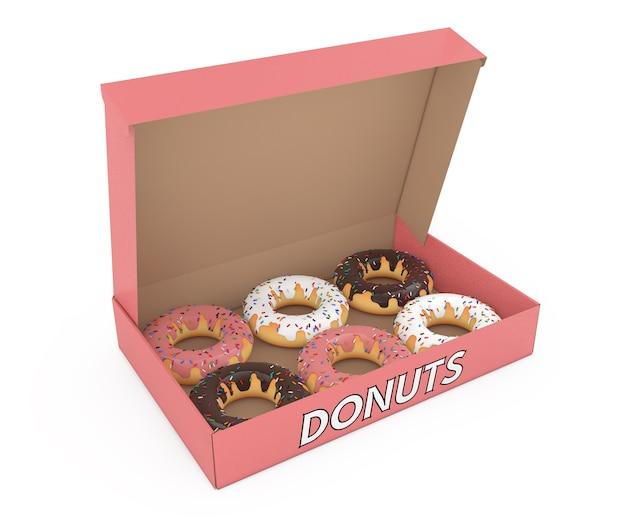 白い背景の上の紙の段ボール箱に詰め合わせの甘いドーナツ。 3dレンダリング
