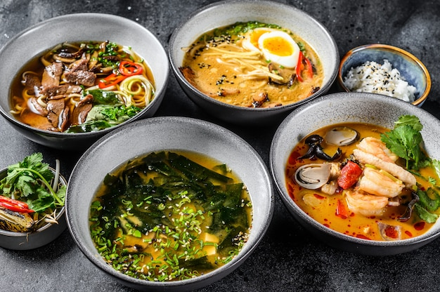 Assorted traditional asian soups.