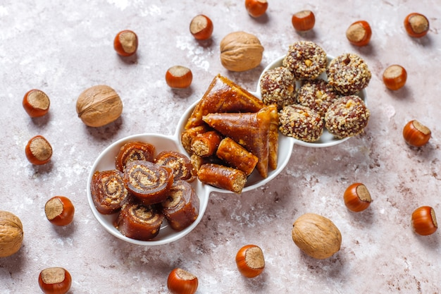Assorted traditional turkish delight with nuts