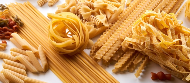 Assorted varieties of pasta wallpaper. mix macaroni, spaghetti on white background