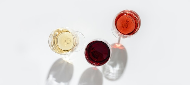 Assorted wine in glass. red, rose and white wine top view