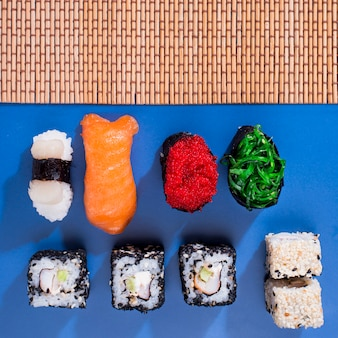 Assortiments of sushi rolls