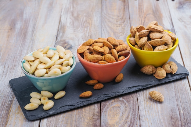 Assortment of almond nuts