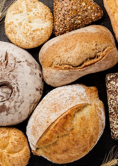 Assortment of baked bread top view
