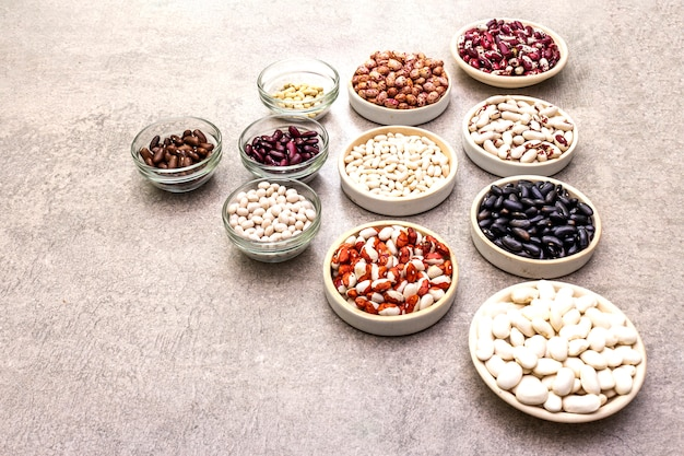 Assortment of beans in bowls