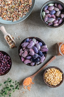 Assortment of beans and lentils the concept of healthy and nutritious food