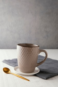 Assortment of beautiful tableware with copy space