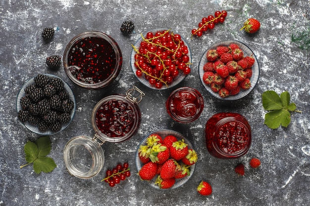 Assortment of berry jams,top view