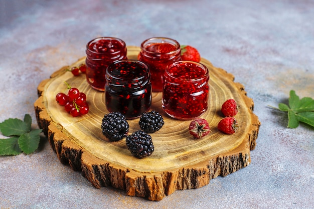 Assortment of berry jams, top view