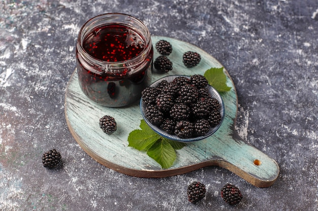 Assortment of berry jams, top view