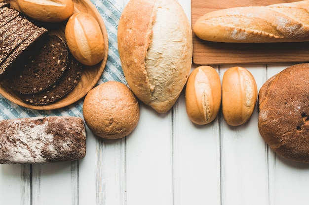 Assortment of bread loaves from above