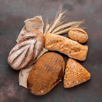 Assortment of bread with jute cloth