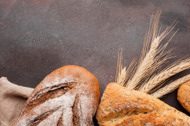 Assortment of bread with wheat greass