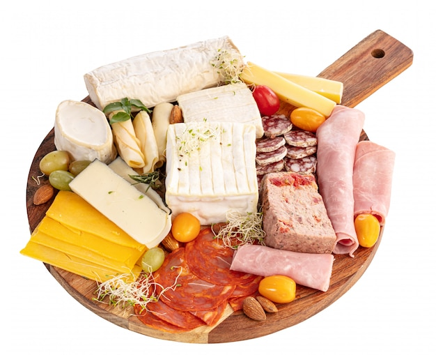Assortment of cheese and cold meats