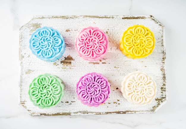 Assortment of chinese snowskin mooncakes