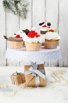 Assortment of christmas cupcakes