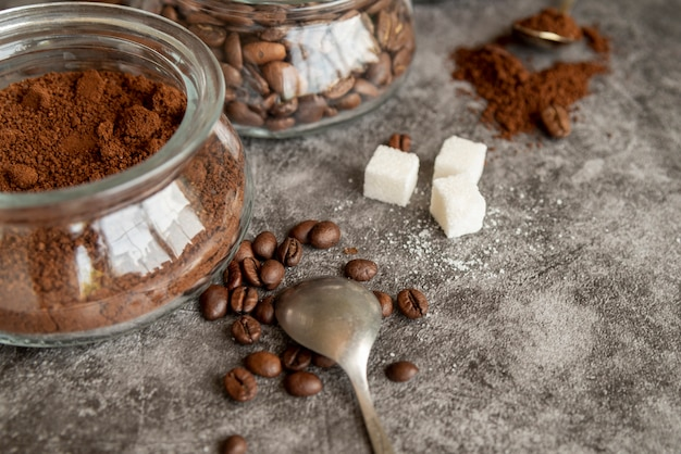 Assortment of coffee on marble background