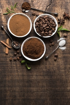 Assortment of coffee on vintage background