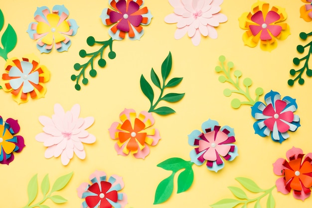 Assortment of colorful paper flowers for spring