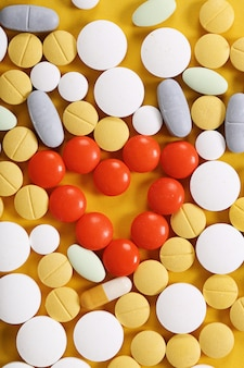 Assortment of colorful pills