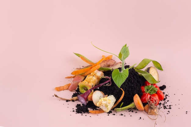Assortment of compost made of rotten food with copy space