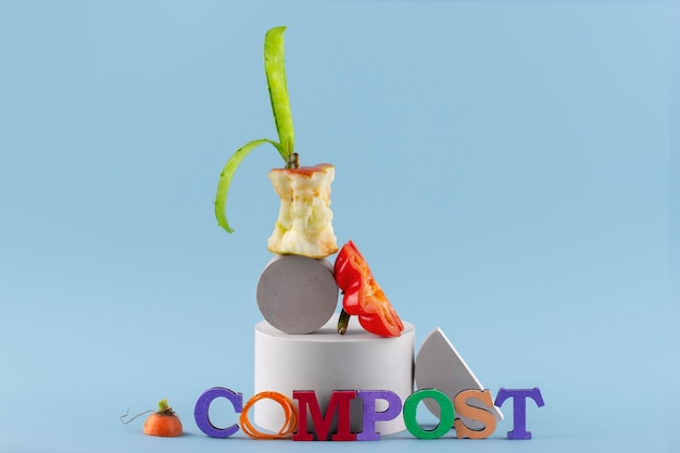 Assortment of compost made of rotten food