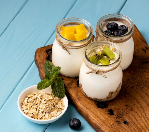 Assortment of delicious breakfast meal with yogurt