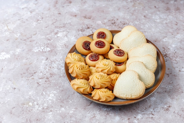Assortment of delicious fresh cookies.