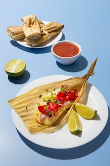 Assortment of delicious tamales on plate
