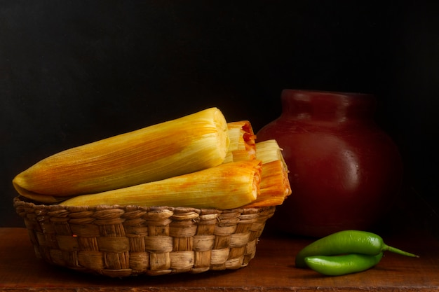 Assortment of delicious traditional tamales