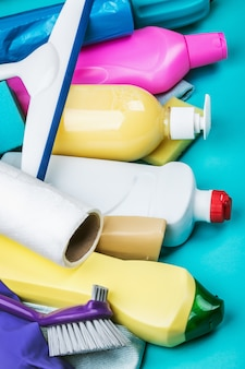 Assortment of different cleaning products for the house