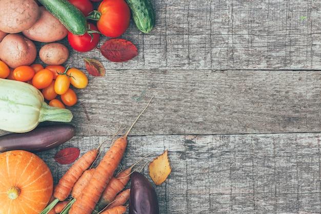 さまざまな新鮮な有機野菜の品揃え