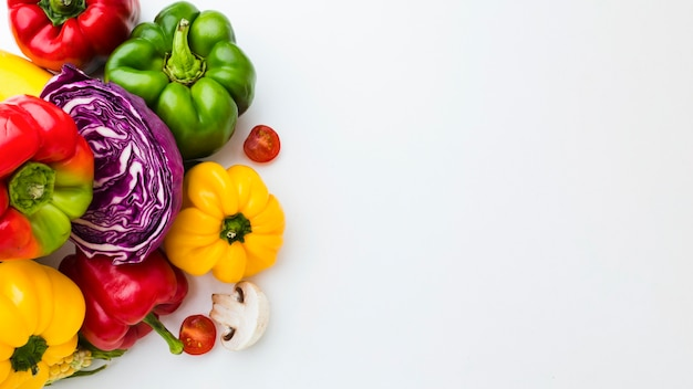 Assortment of different fresh vegetables with copy space