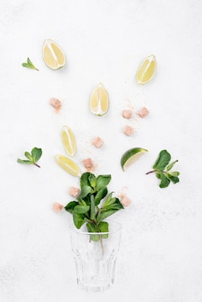 Assortment of different ingredients on white background
