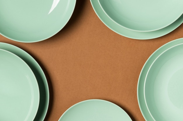 Assortment of different sized plates with copy space