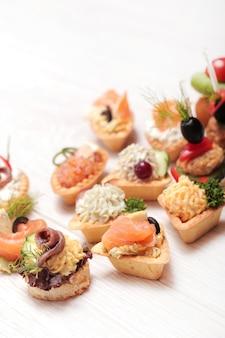Assortment of different snacks