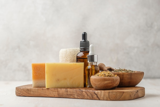 Assortment of different special plants with oil droppers and soaps