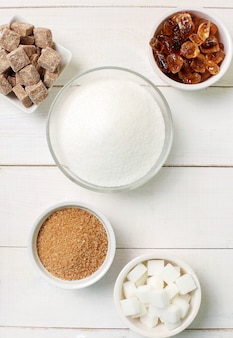 Assortment of different types of sugar