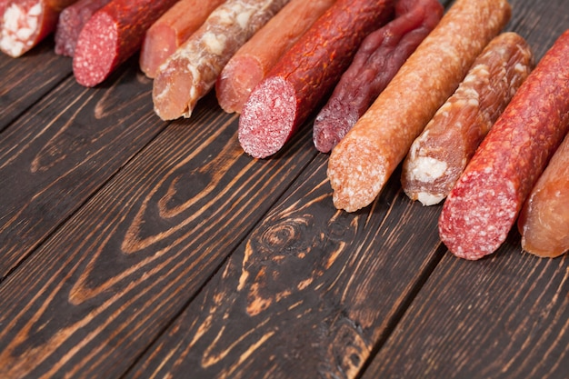 An assortment of dry sausage.