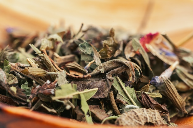 Assortment of dry tea leaves close up
