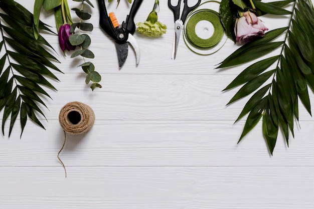 Assortment of equipment for floristry