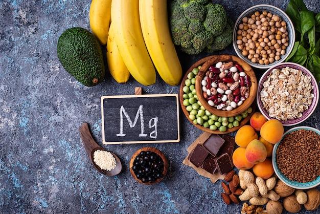 Assortment of  food containing magnesium